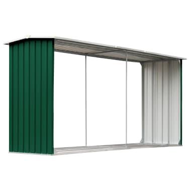 vidaXL Haardhoutschuur 330x92x153 cm gegalvaniseerd staal groen[2/6]