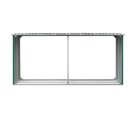 vidaXL Haardhoutschuur 330x92x153 cm gegalvaniseerd staal groen[3/6]