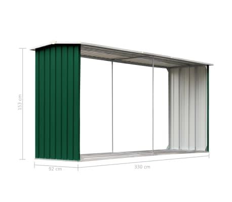 vidaXL Haardhoutschuur 330x92x153 cm gegalvaniseerd staal groen[6/6]