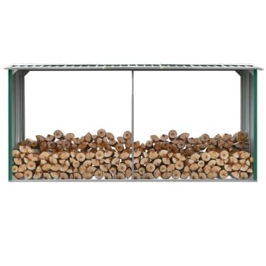 vidaXL Haardhoutschuur 330x92x153 cm gegalvaniseerd staal groen[1/6]