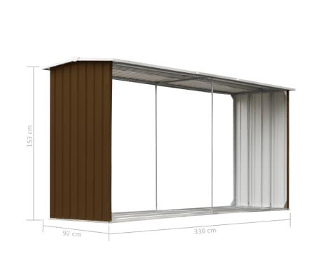 vidaXL Sodo malkinė, ruda, 330x92x153cm, galvanizuotas plienas[6/6]