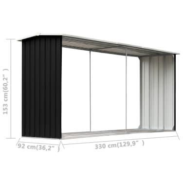 vidaXL Sodo malkinė, antracito, 330x92x153cm, galvanizuotas plienas[6/6]