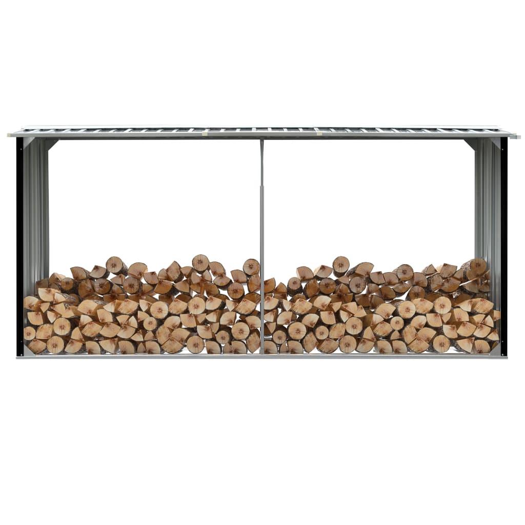 vidaXL malkas nojume, antracītpelēka, 330x92x153 cm, cinkots tērauds