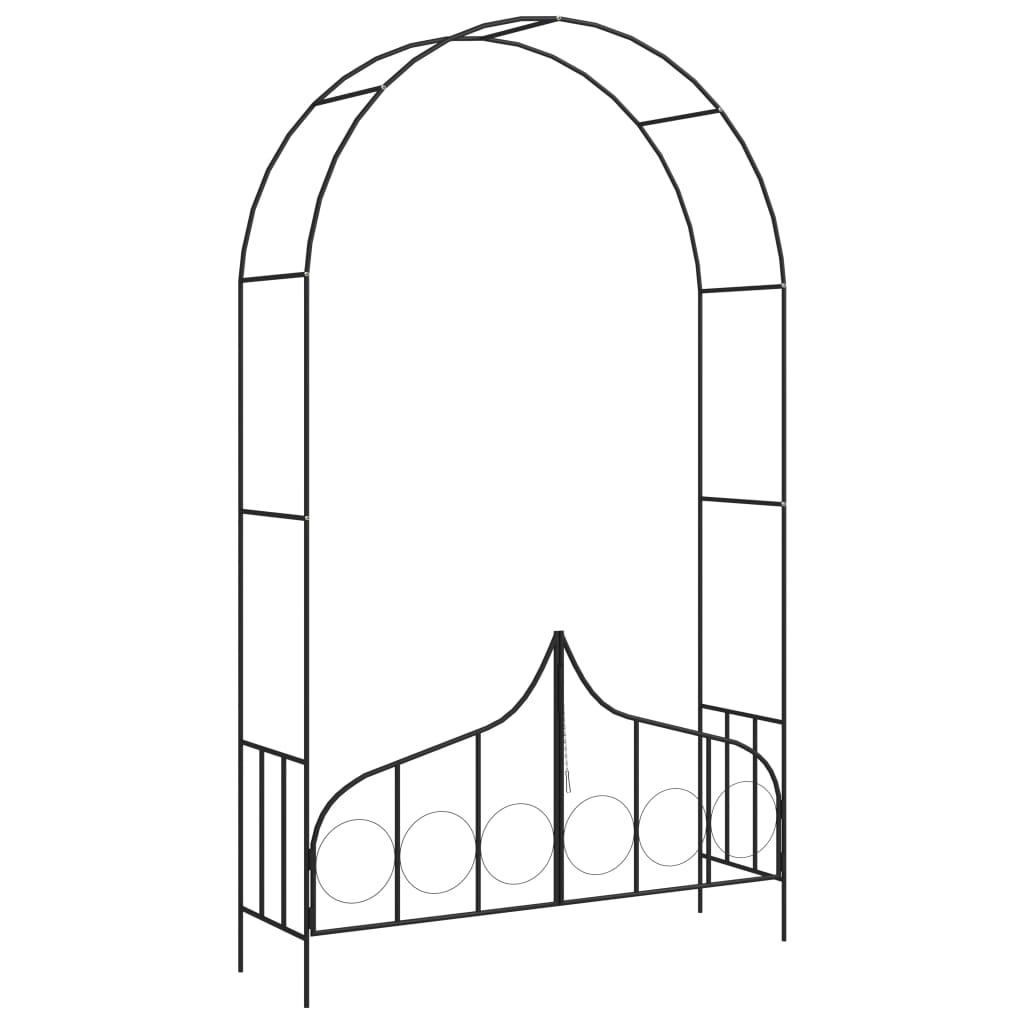 Zahradní oblouk s bránou černý 138 x 40 x 238 cm železo