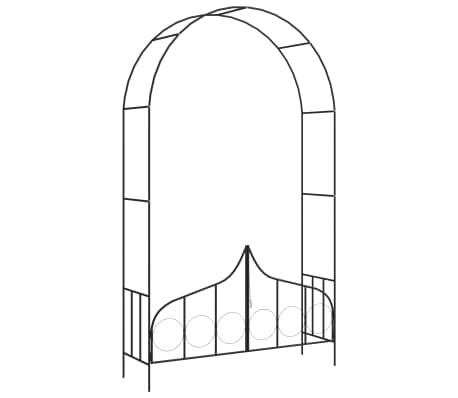 vidaXL Arco de jardín con puerta hierro negro 138x40x238 cm