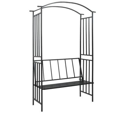 vidaXL Arco de jardín con banco hierro negro 114x45x205 cm