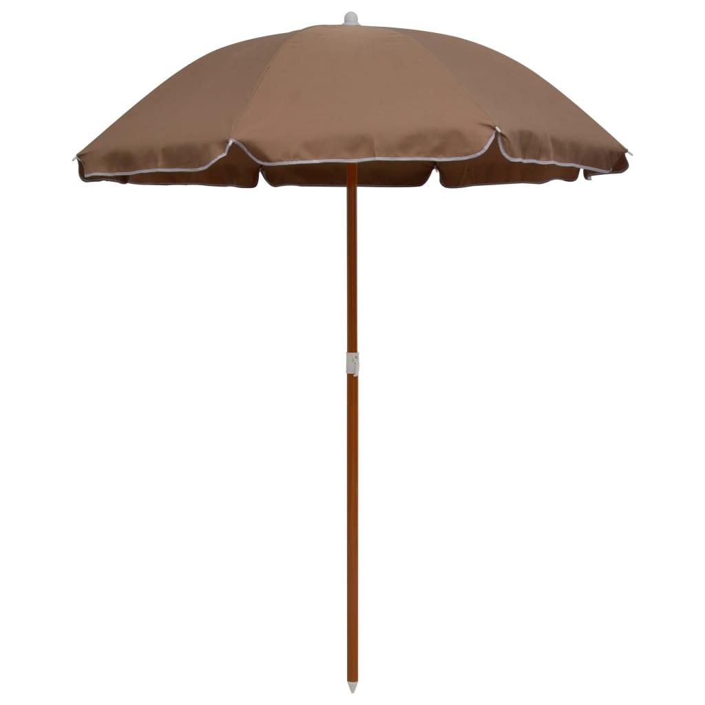 vidaXL parasol med stålstang 180 cm gråbrun