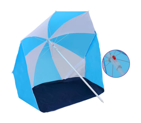 "vidaXL Beach Umbrella Shelter Blue and White 70.9"" Fabric"