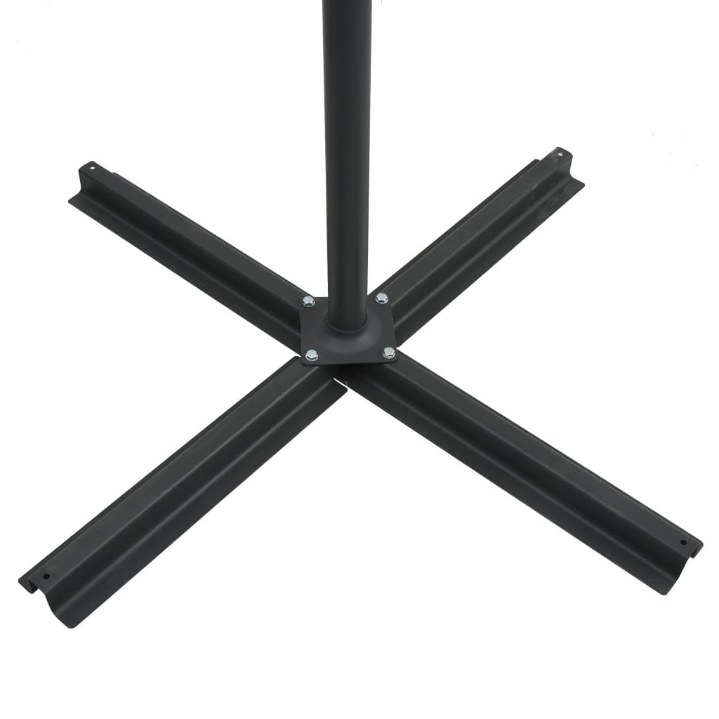 vidaXL Zweefparasol met LED-verlichting en paal 250x250 cm zandkleurig