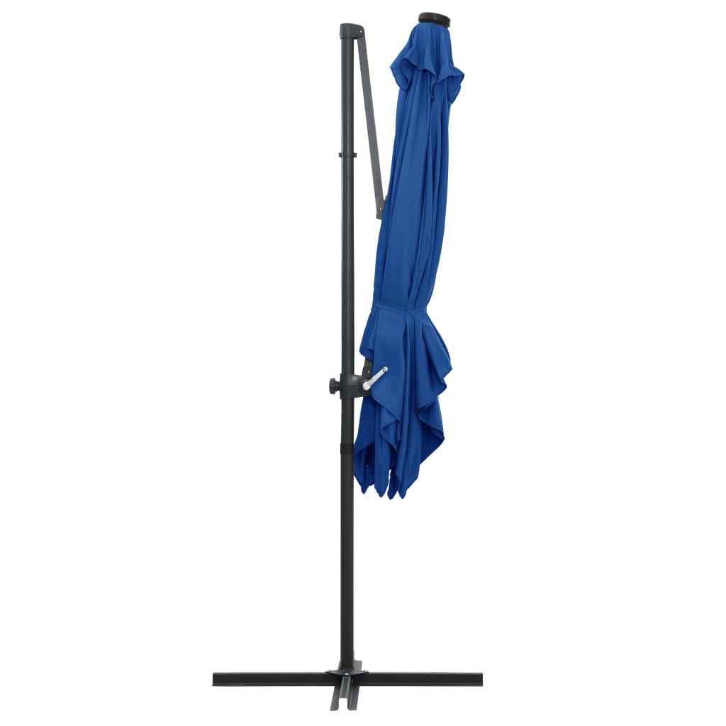 Zweefparasol met LED-verlichting en paal 250x250 cm azuurblauw