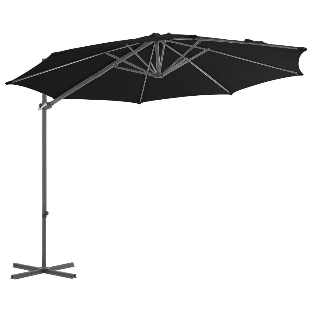 vidaXL Zweefparasol met stalen paal 300 cm zwart