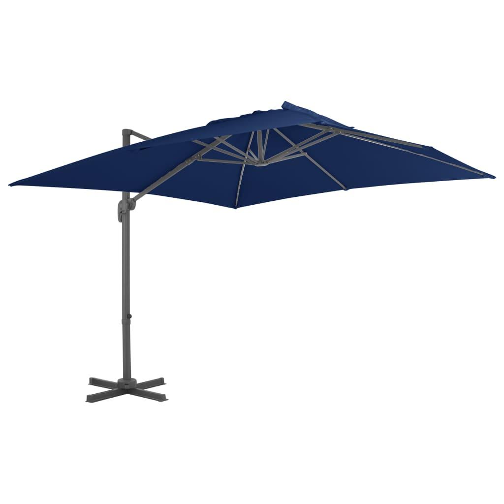 vidaXL Umbrelă suspendată cu stâlp din aluminiu albastru azuriu 3x3 m poza 2021 vidaXL
