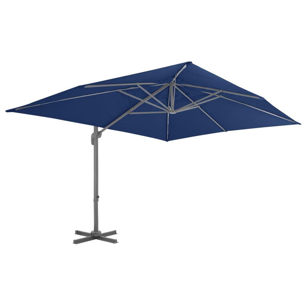 vidaXL Zweefparasol met aluminium paal 4x3 m azuurblauw