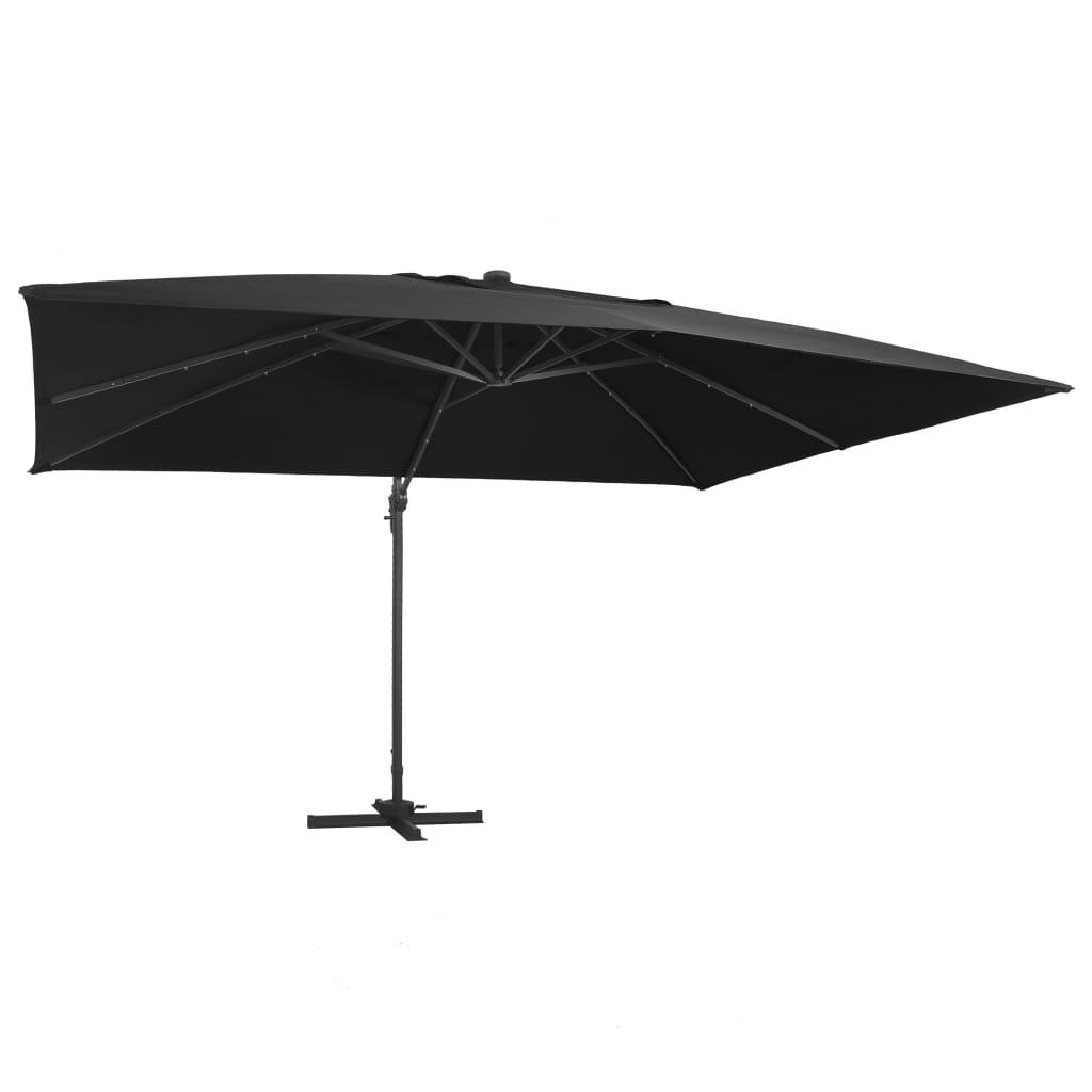 vidaXL Umbrelă suspendată cu LED și stâlp aluminiu negru 400x300 cm poza 2021 vidaXL