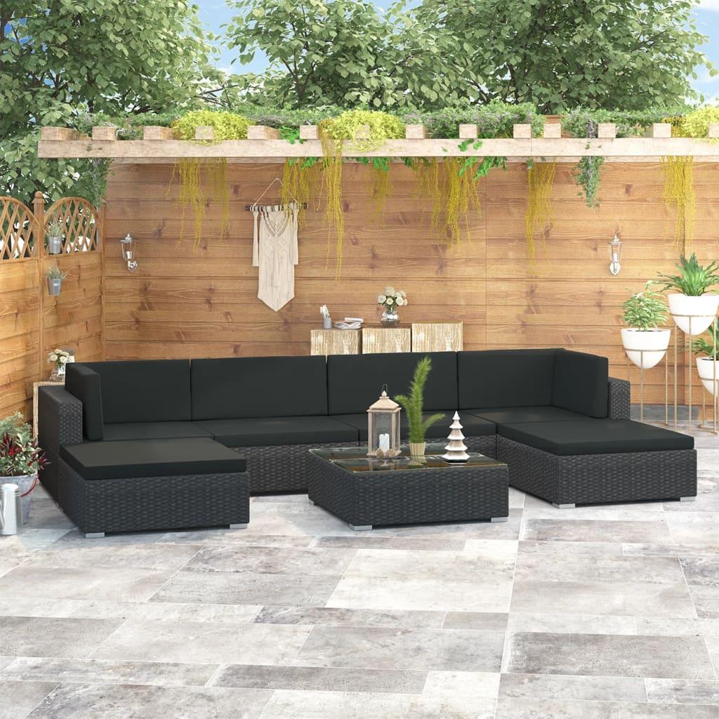 vidaXL Set mobilier de grădină cu perne, 7 piese, negru, poliratan poza 2021 vidaXL