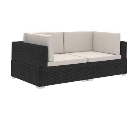vidaXL Модулни ъглови фотьойли с възглавници, 2 бр, черен полиратан