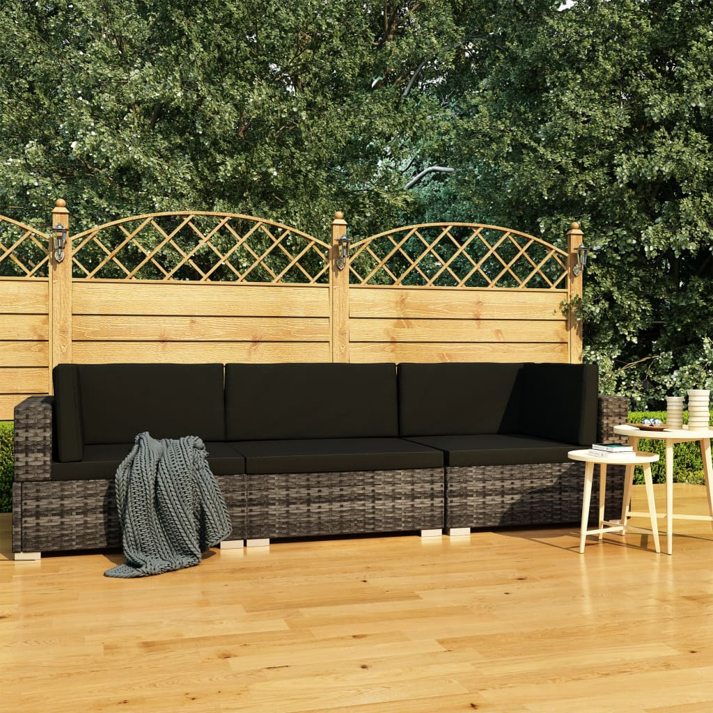 vidaXL Set canapele de grădină cu perne, 3 piese, gri, poliratan vidaxl.ro