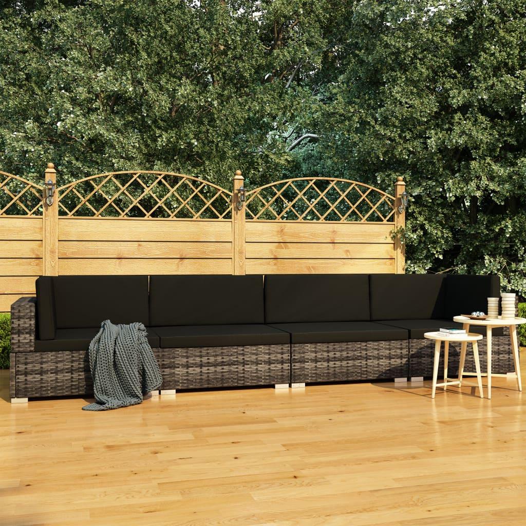 vidaXL Set canapele de grădină cu perne, 4 piese, gri, poliratan poza 2021 vidaXL