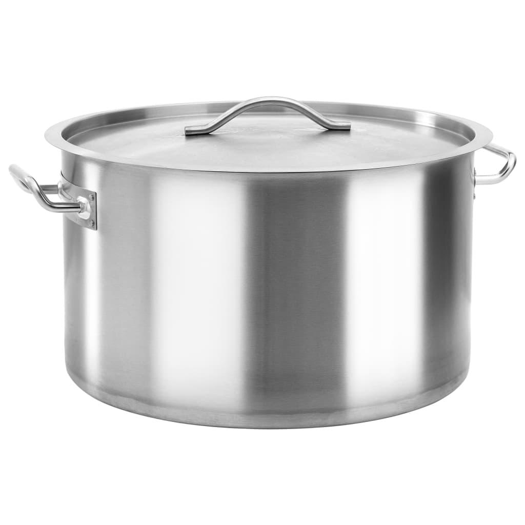 vidaXL Oală de supă, 45 x 28 cm, oțel inoxidabil, 44 L imagine vidaxl.ro