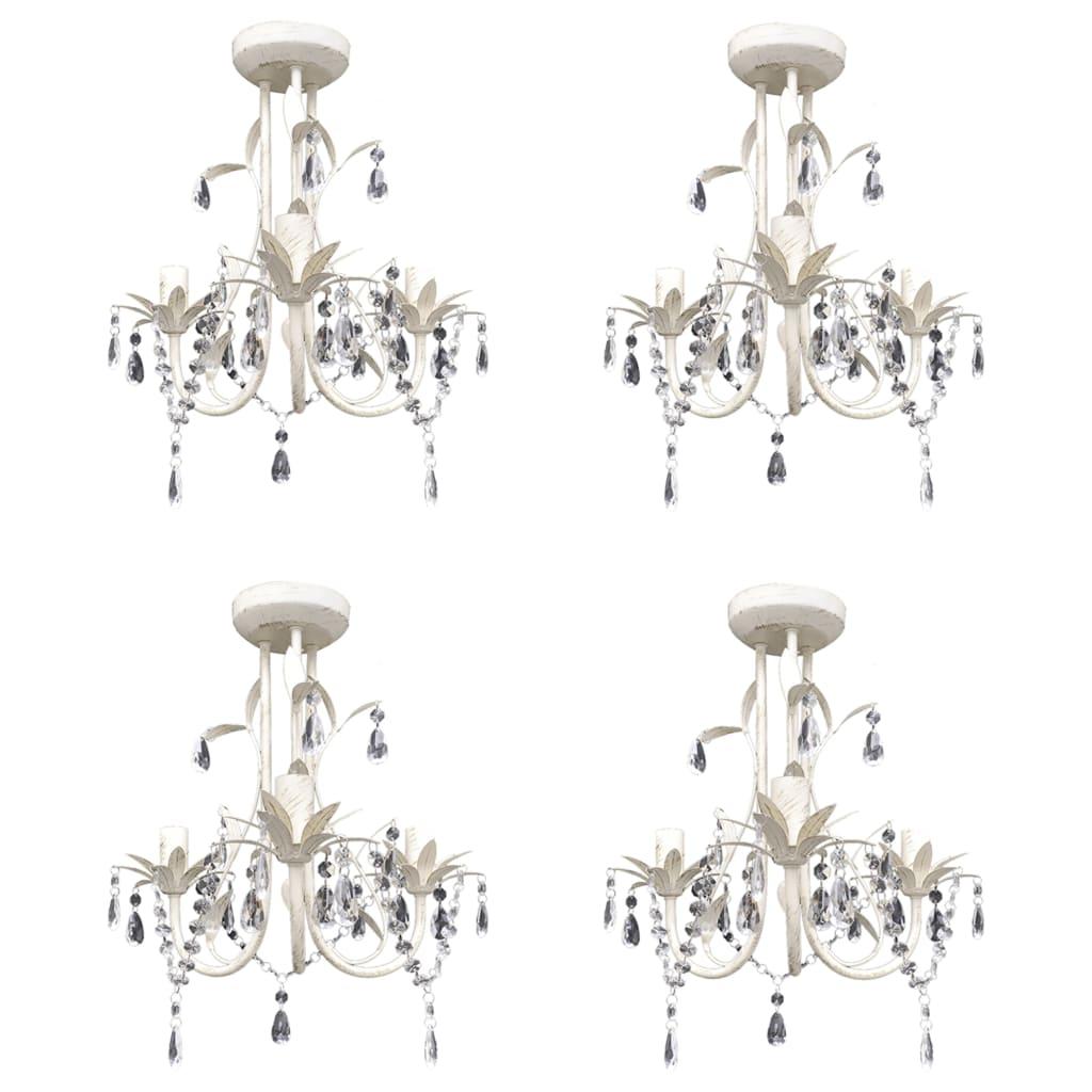 vidaXL Candelabre suspendate de plafon cu cristale 4 buc. alb elegant poza 2021 vidaXL