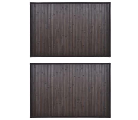 vidaXL Bambusová predložka do kúpeľne 2 ks 60x90 cm tmavohnedá