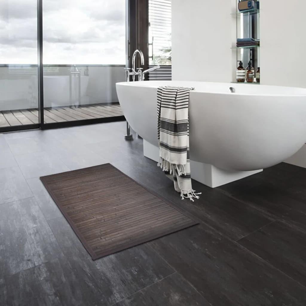 Bambusové koupelnové předložky 4 ks 60 x 90 cm tmavě hnědé