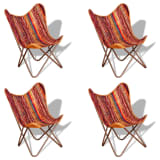 vidaXL Butterfly Chairs 4 pcs Multicolour Chindi Fabric