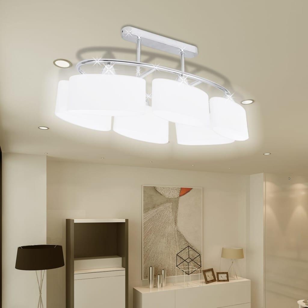 Stropní svítidlo s oválnými skleněnými stínidly 4 ks E14