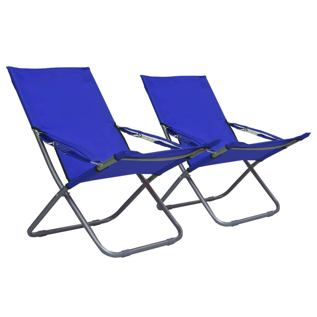 vidaXL Καρέκλες Παραλίας Πτυσσόμενες 2 τεμ. Μπλε Υφασμάτινες