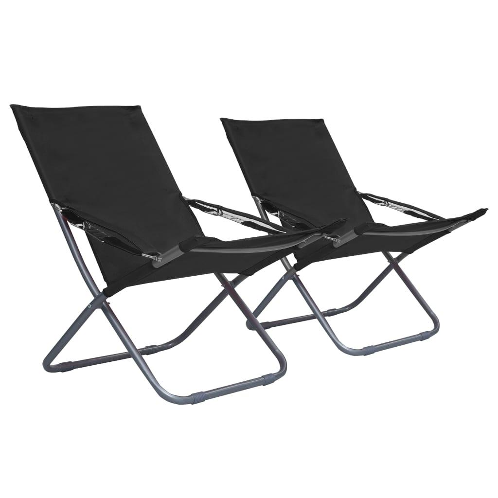vidaXL Skládací plážové židle 2 ks textil černé