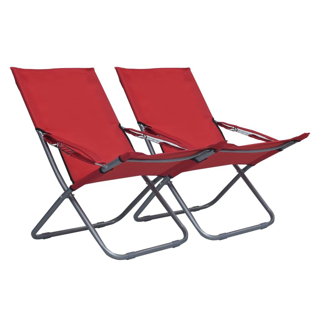 Skládací plážové židle 2 ks textil červené