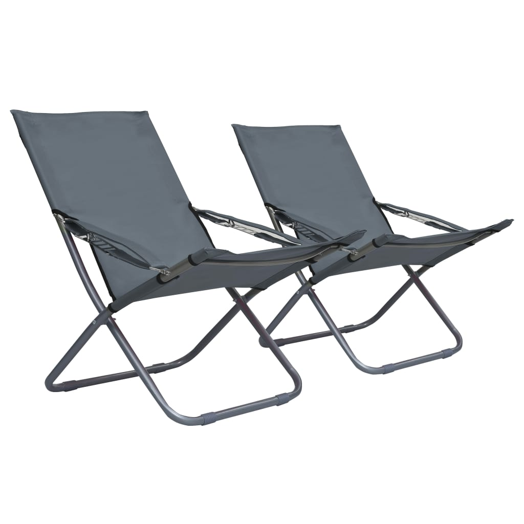 vidaXL Skládací plážové židle 2 ks textil šedé