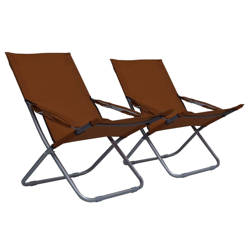 Skládací plážové židle 2 ks textil hnědé