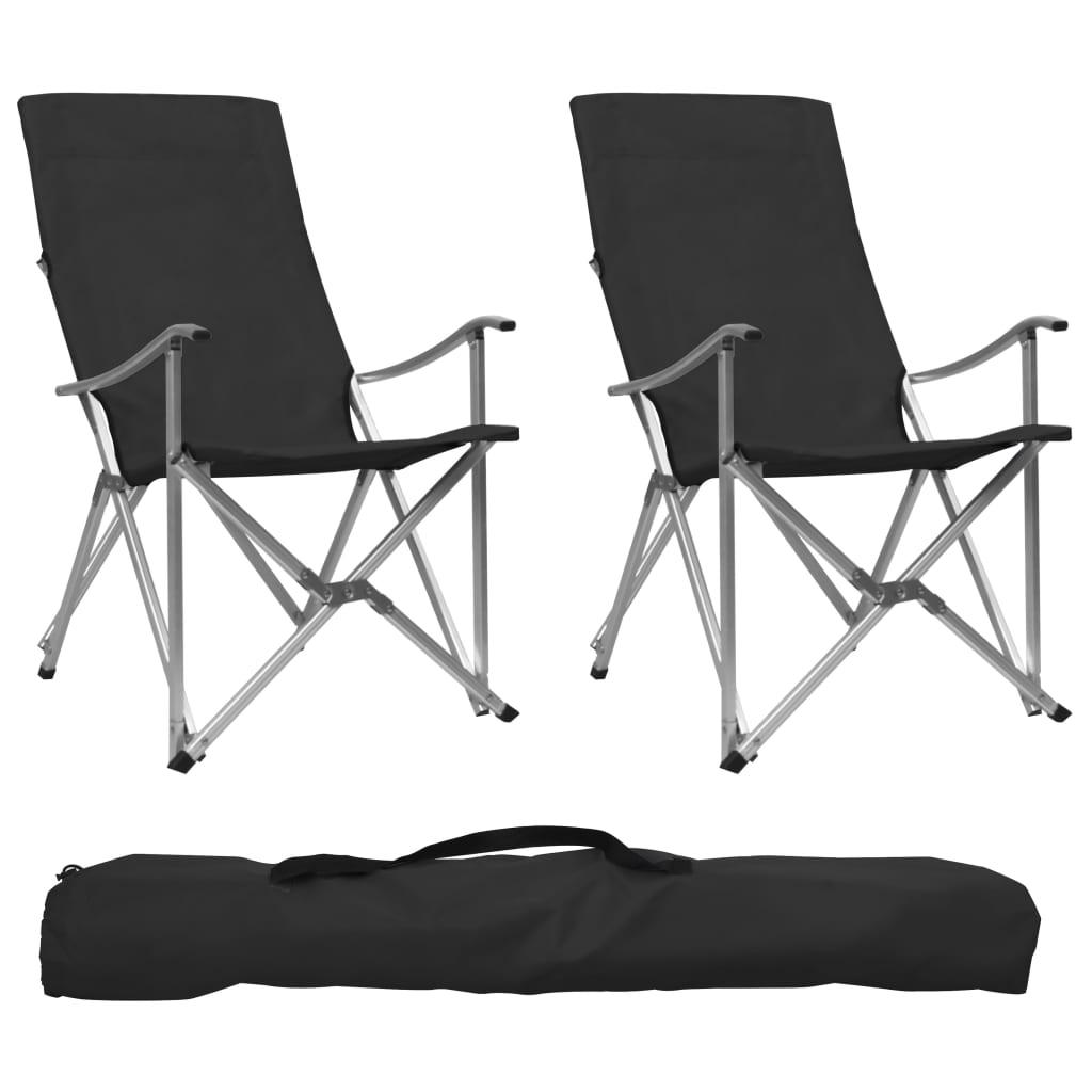 Skládací kempingové židle 2 ks černé