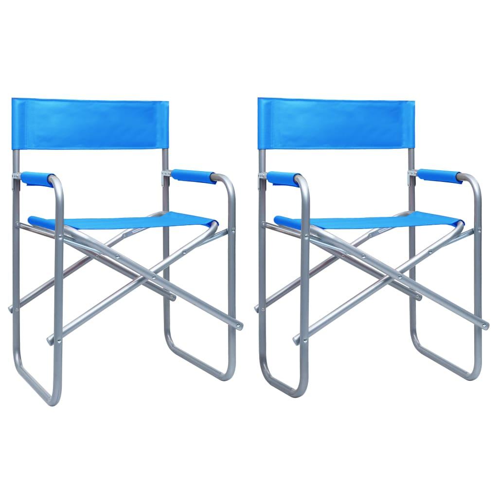 Režisérské židle 2 ks ocel modré