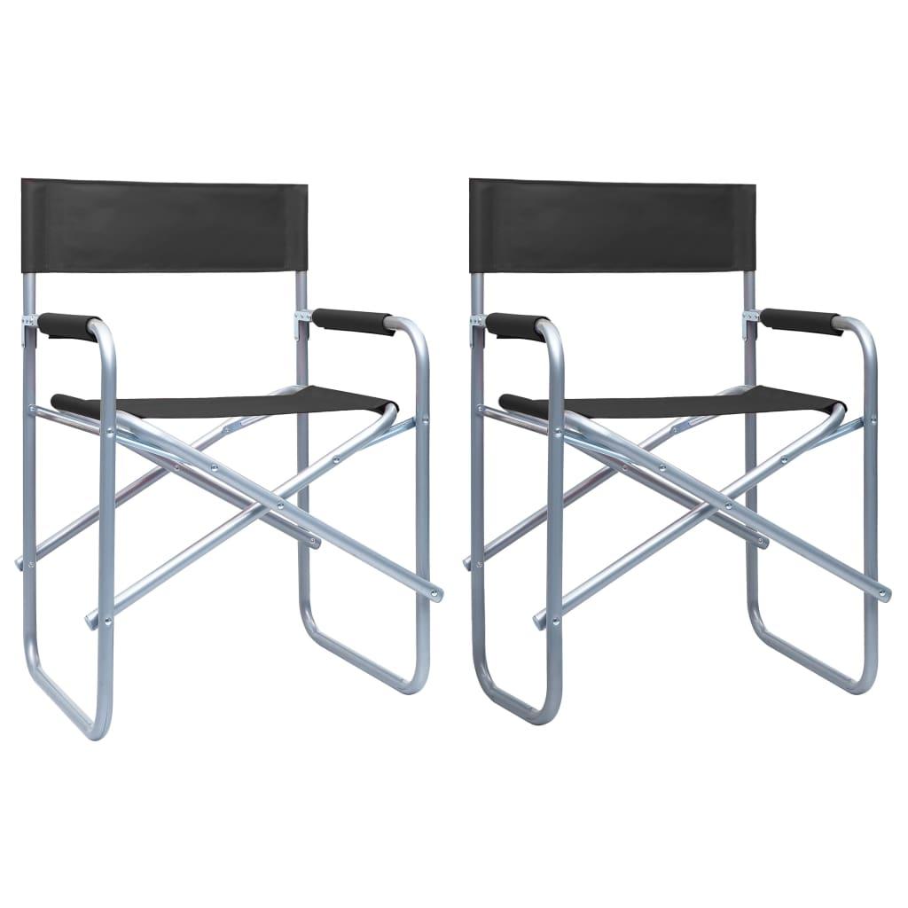 vidaXL Režisérské židle 2 ks ocel černé
