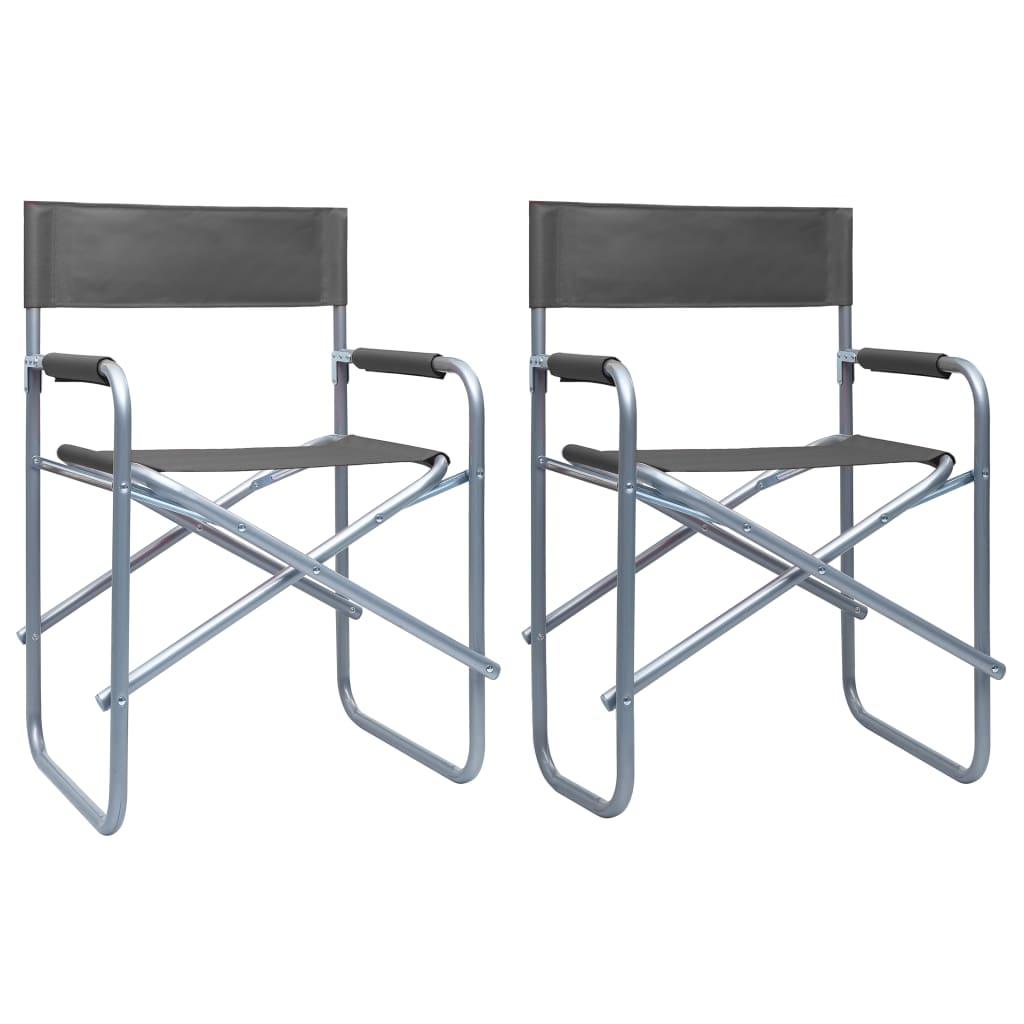 vidaXL Režisérské židle 2 ks ocel šedé