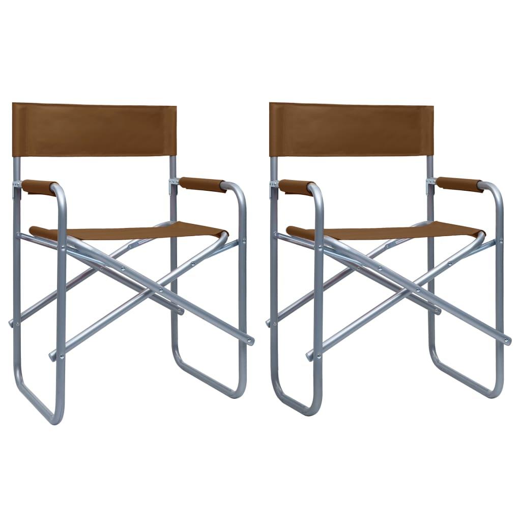 Režisérské židle 2 ks ocel hnědé