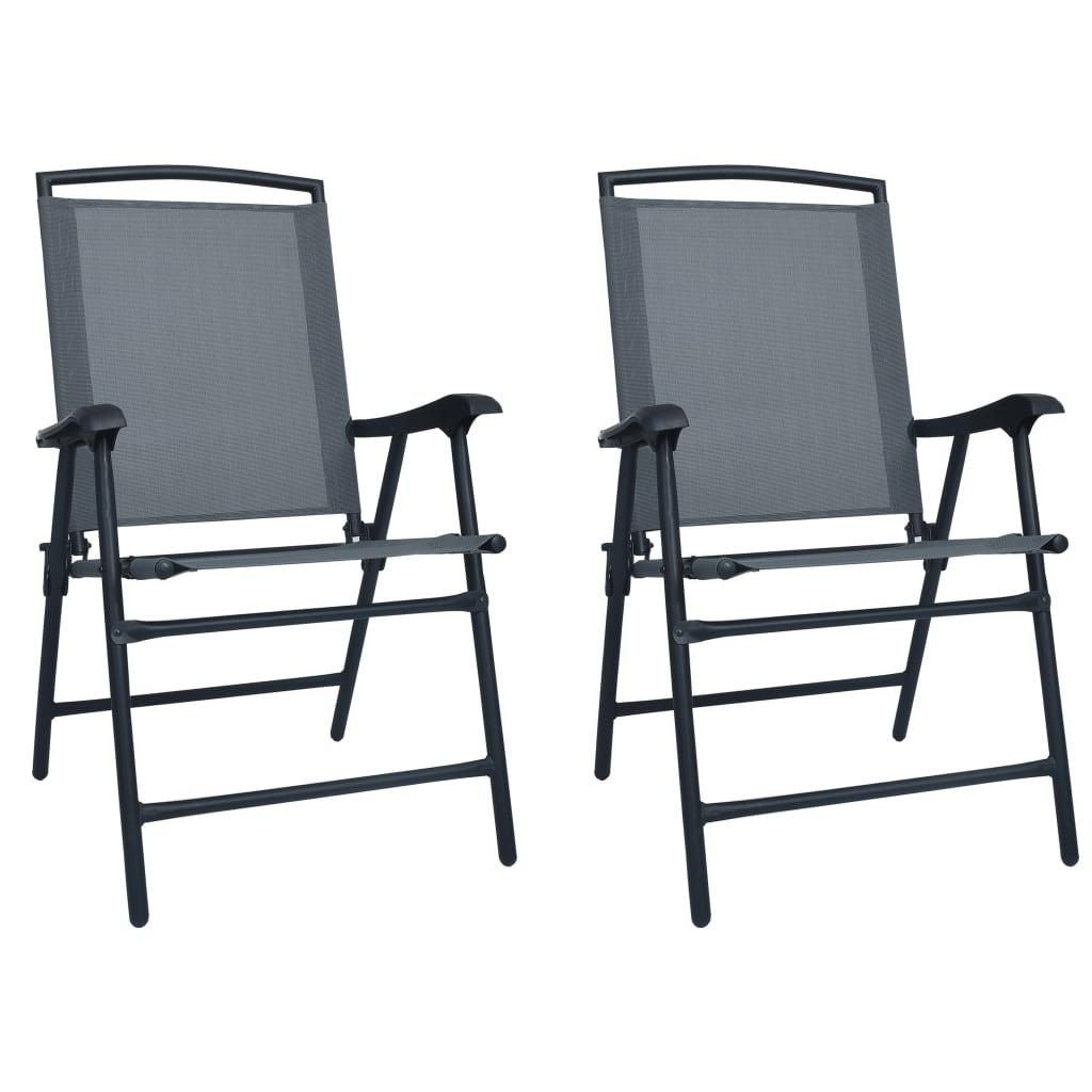 vidaXL Καρέκλες Κήπου Πτυσσόμενες 2 τεμ. Γκρι από Textilene