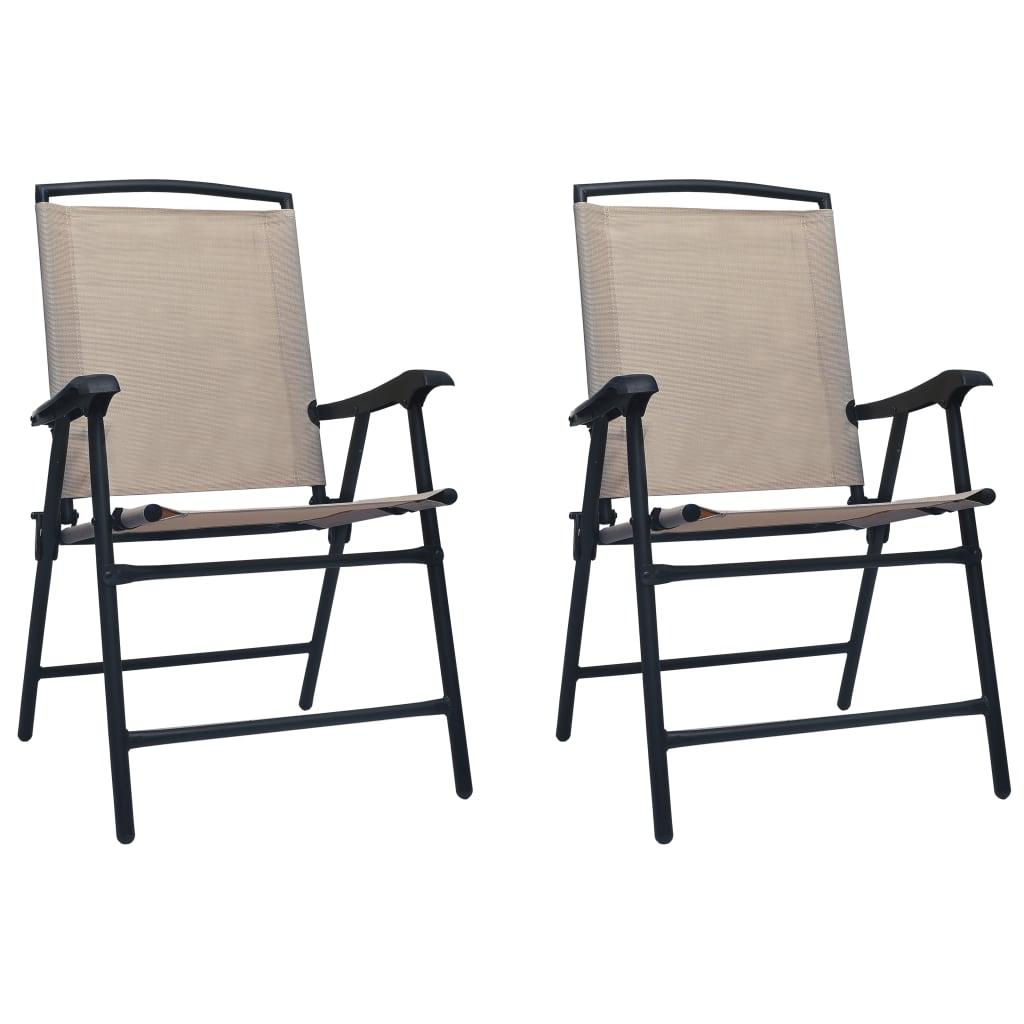 vidaXL Καρέκλες Κήπου Πτυσσόμενες 2 τεμ. Taupe από Textilene