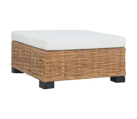 vidaXL Footrest with Cushion Natural Rattan