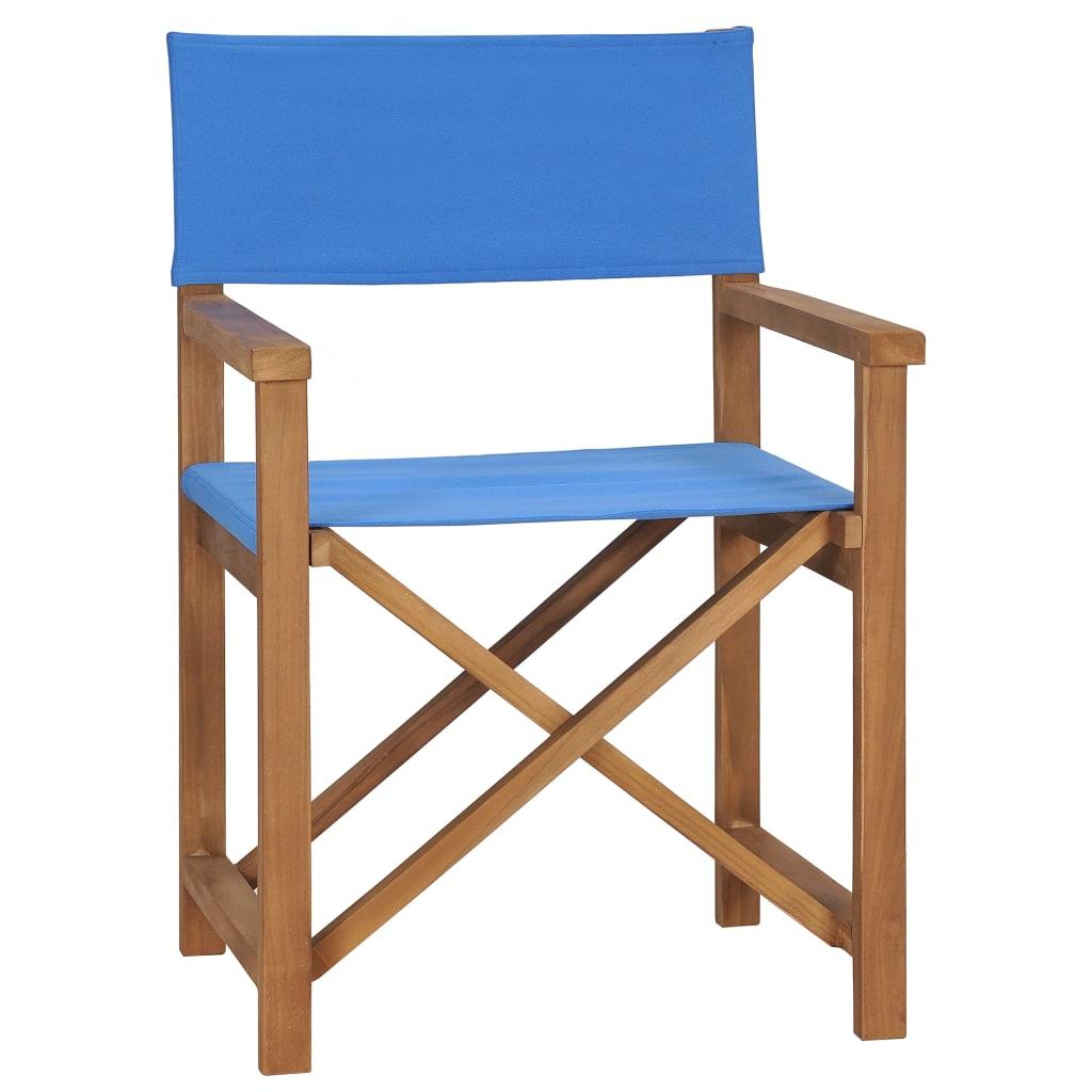 vidaXL Καρέκλα Σκηνοθέτη Μπλε από Μασίφ Ξύλο Teak
