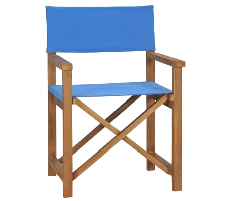 vidaXL Director's Chair Solid Teak Wood Blue