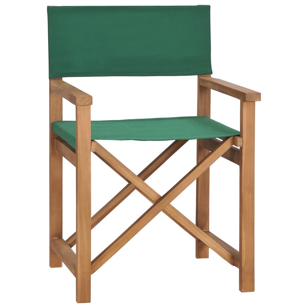 vidaXL Καρέκλα Σκηνοθέτη Πράσινη από Μασίφ Ξύλο Teak