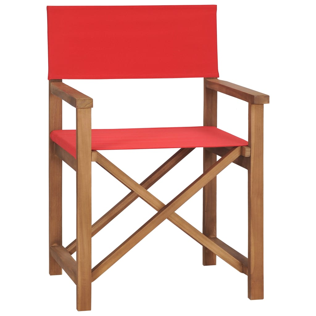 vidaXL Καρέκλα Σκηνοθέτη Κόκκινη από Μασίφ Ξύλο Teak