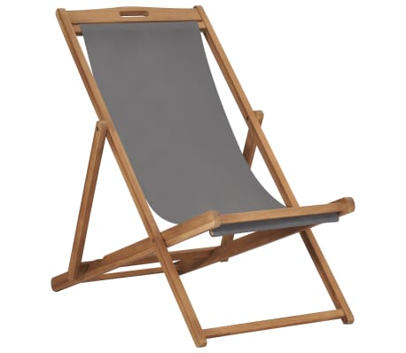 vidaXL Strandstoel inklapbaar massief teakhout grijs