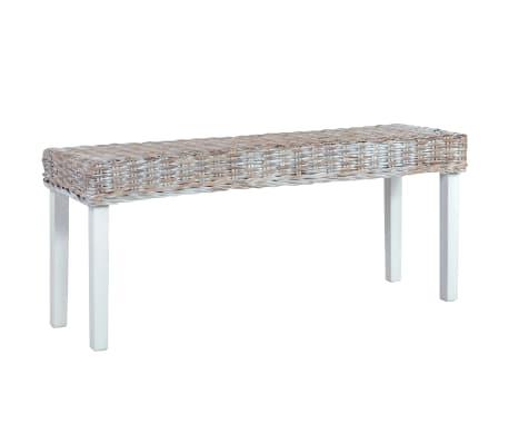 vidaXL Bench 110 cm White Natural Kubu Rattan and Solid Mango Wood