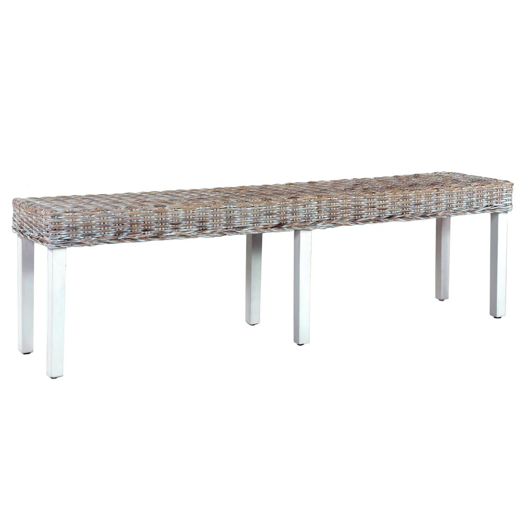 vidaXL Bancă, alb, 160 cm, ratan kubu natural și lemn masiv de mango poza vidaxl.ro