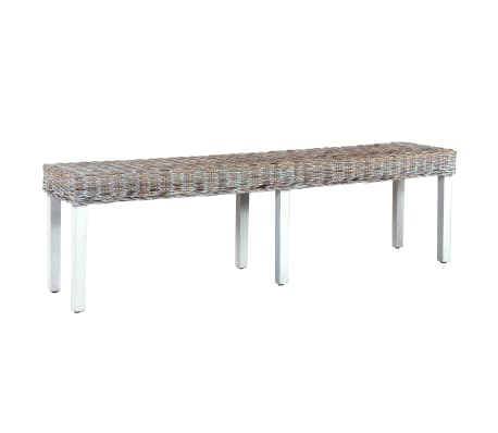 vidaXL Bench 160 cm White Natural Kubu Rattan and Solid Mango Wood