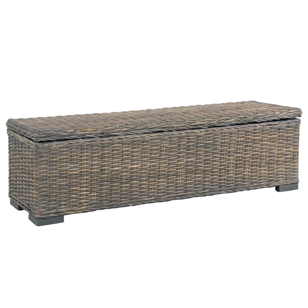 vidaXL Ladă de depozitare, gri, 120 cm, ratan kubu și lemn de mango vidaxl.ro